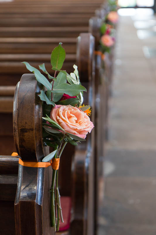 Roses and foliage on pews