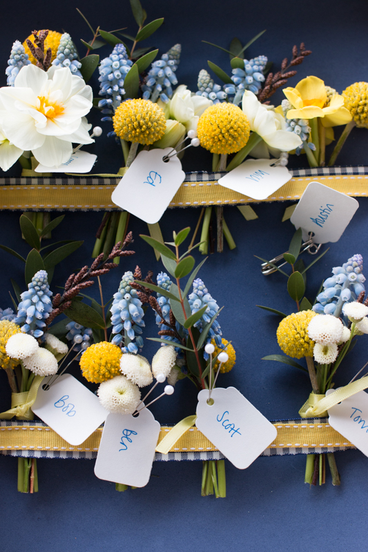 Spring wedding buttonholes