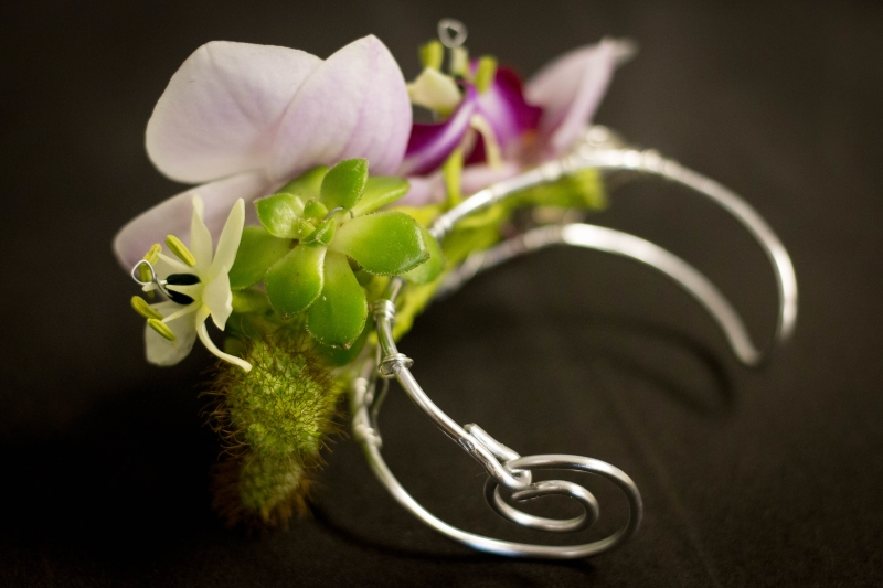 Orchid wedding corsage