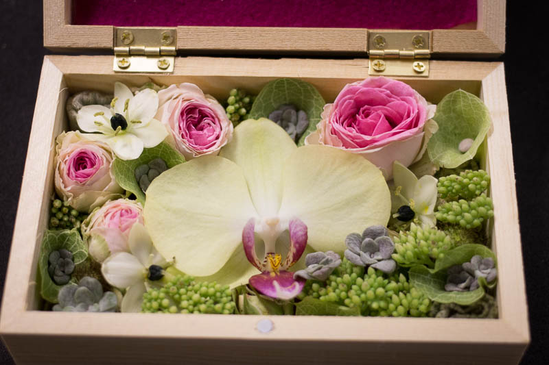 Wooden box filled with flowers