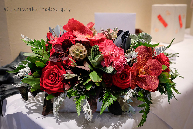 Red orchid table decoration