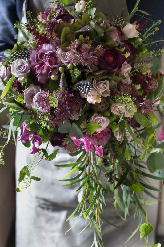 Textured purple and green bouquet